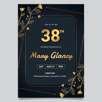 Gouden luxe verjaardagsuitnodiging sjabloon Gratis Vector
