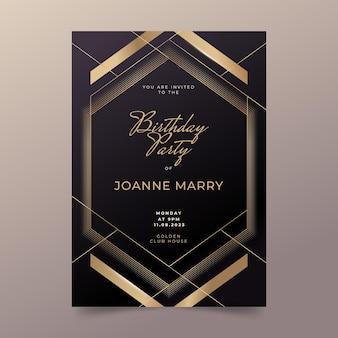 Gouden luxe verjaardagsuitnodiging