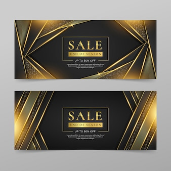 Gouden luxe verkoopbanners met korting