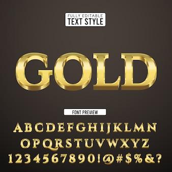 Gouden luxe vintage klassieke dure 3d-tekst lettertype alfabet effect collectie set
