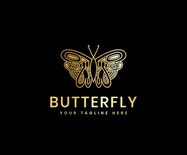 Gouden luxe vrouwelijke schoonheid vlinder lijn kunst luxe logo ontwerpsjabloon voor cosmetisch merk Premium Vector