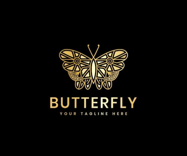 Gouden luxe vrouwelijke schoonheid vlinder lijn kunst luxe logo ontwerpsjabloon voor cosmetisch merk