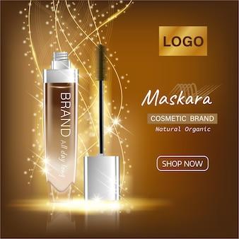 Gouden luxe wimpermascara-advertenties zwart en goud pakket met wimperapplicatorborstel met mascara's
