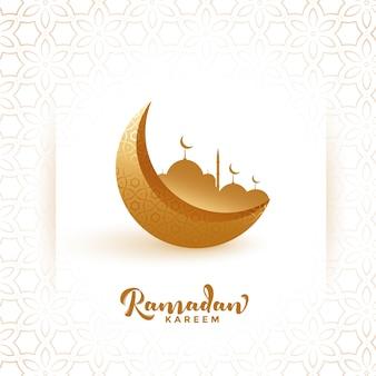 Gouden maan en moskee ramadan kareem festivalachtergrond