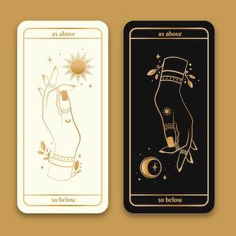 Gouden magische hand getekend met zon en maan banners pack