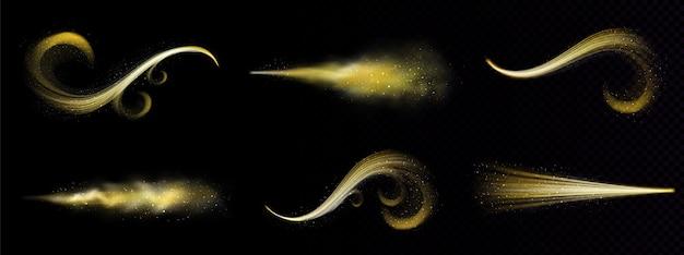 Gouden magische spray, sprookjesachtige glitterstof met sporen van gouden deeltjes