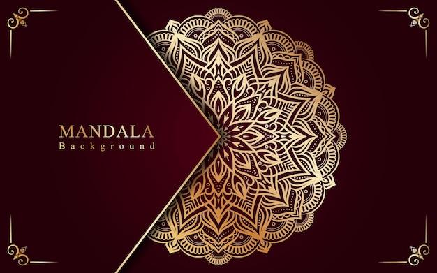 Gouden mandala-achtergrond voor bruiloft en uitnodigingen in bloemenstijl