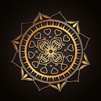 Gouden mandala decoratief pictogram