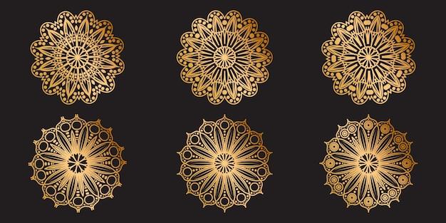 Gouden mandala decorontwerp. aziatische, arabische decoratieve bloemenmandala-collectie