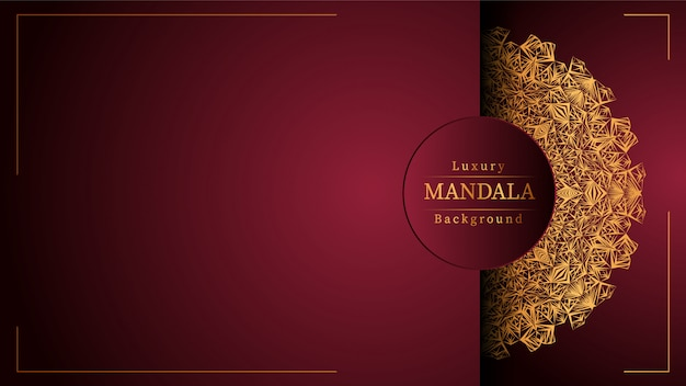Gouden mandala met rode achtergrond