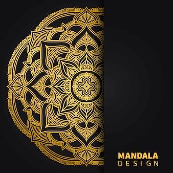 Gouden mandala ontwerp achtergrond. etnische ronde versiering. hand getekend indiase motief. unieke gouden bloemenprint.