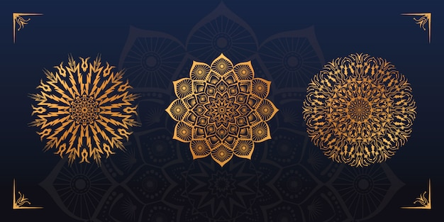 Gouden mandala ontwerpset