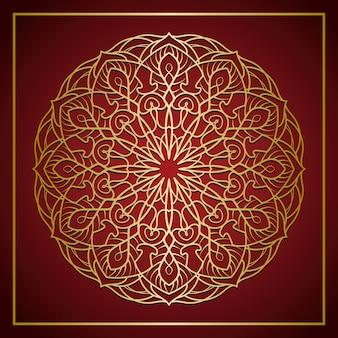 Gouden mandala op rode gradiëntachtergrond