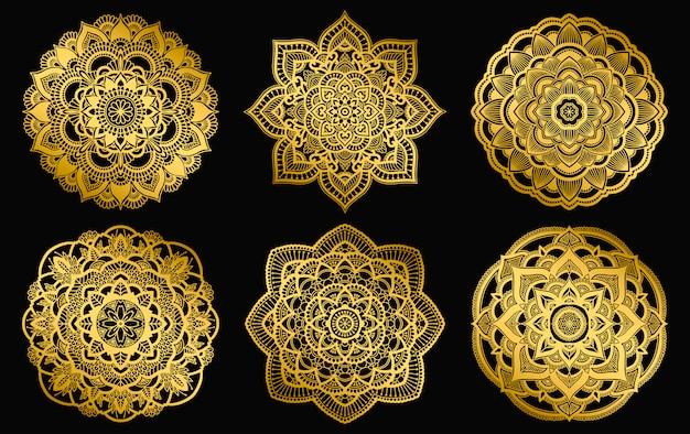 Gouden mandala's ontwerp. etnische ronde gradatie sieraad. hand getekend indiase motief. mehendi meditatie yoga henna thema. unieke bloemenprint.