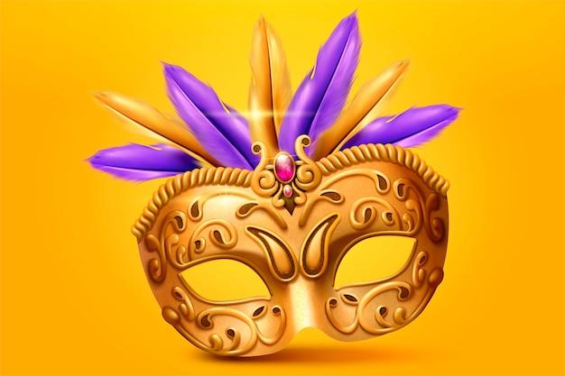 Gouden masker en veer in 3d illustratie op gele chroomachtergrond