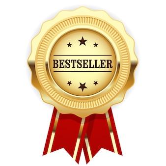 Gouden medaille bestseller met rood lint