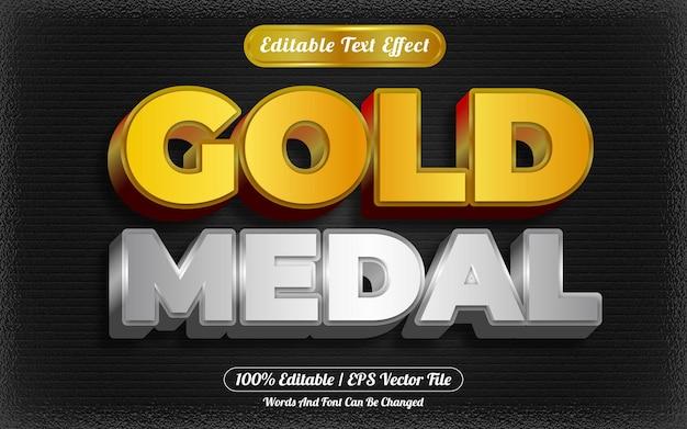 Gouden medaille bewerkbare teksteffect sjabloonstijl