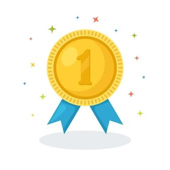 Gouden medaille met blauw lint voor de eerste plaats. trofee, winnaarsprijs. gouden kentekenpictogram. sport, zakelijke prestatie, overwinningsconcept