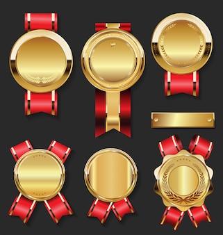 Gouden medaille met rode linteninzameling