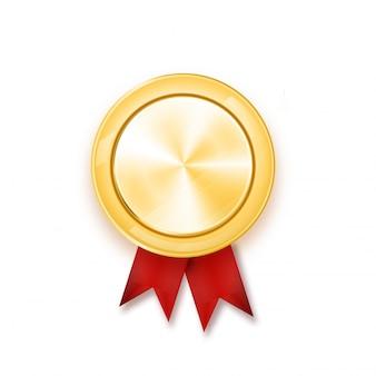 Gouden medaille met rood lint. metallic winnaarprijs.