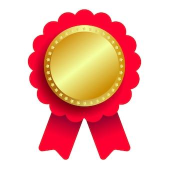 Gouden medaille met rood lint