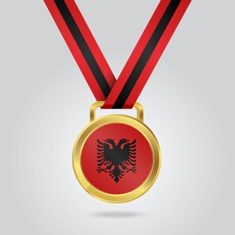 Gouden medaille met vlag van albanië