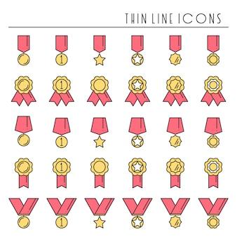 Gouden medaille-onderscheiding 1e plaats. winnaar ingesteld. eerste plaatsprestatie. succes symbolen