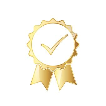 Gouden medaille pictogram met lint en vinkje binnen