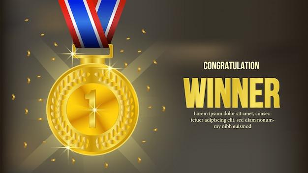 Gouden medaille winnaar aankondiging banner