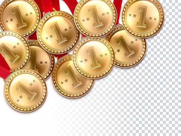 Gouden medailles eerste winnaar achtergrond poster