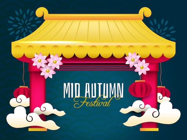 Gouden medio herfst festival sjabloon voor spandoek