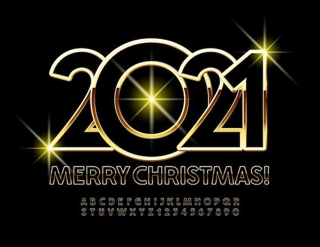 Gouden merry christmas 2021 wenskaart. elite lettertype. luxe alfabetletters en cijfers ingesteld