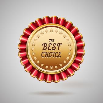 Gouden metalen badge. beste keuze teken. vector illustratie