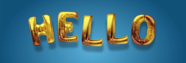 Gouden metalen ballonlettertype van hoofdletters hello gouden kunst. realistische geïsoleerde gouden ballontekst van hallo. concept van verwelkomen en begroeten.