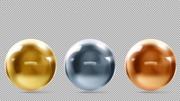 Gouden, metalen, bronzen ballen op een transparante achtergrond