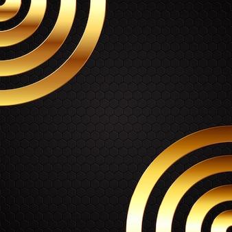 Gouden metalen cirkels op zwarte achtergrond