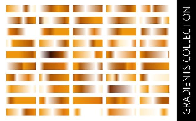 Gouden metalen gradiënt collectie en goudfolie textuur set glanzende vector sillustration voor posters brochure uitnodiging behang flyers banners