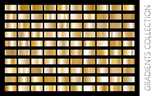 Gouden metalen gradiëntcollectie en goudfolietextuurset glanzende vectorillustratie voor posters