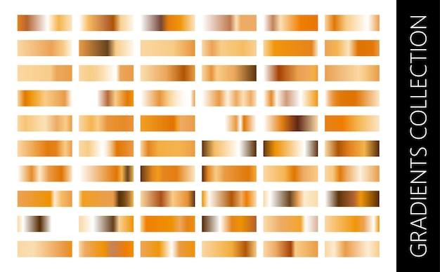 Gouden metalen verloopcollectie en goudfolie textuur set. glimmend