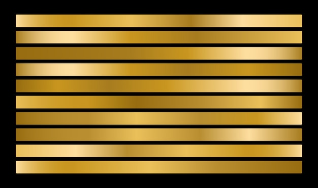 Gouden metalen verloopcollectie en goudfolie textuur set.
