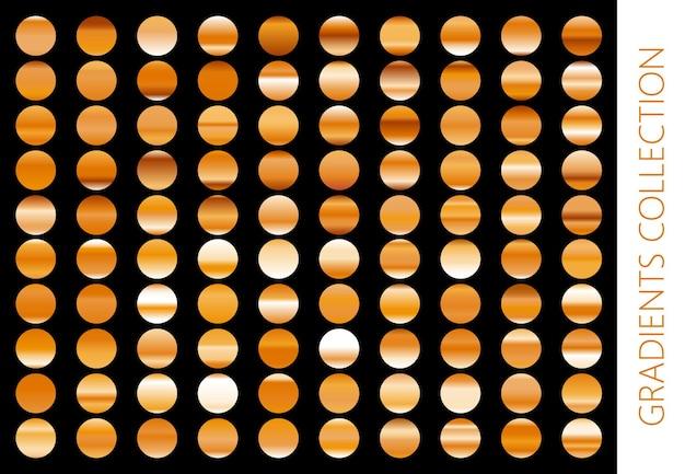 Gouden metalen verloopcollectie en goudfolie textuur set