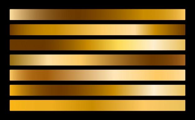 Gouden metalen verloopcollectie. goud folie textuur set.
