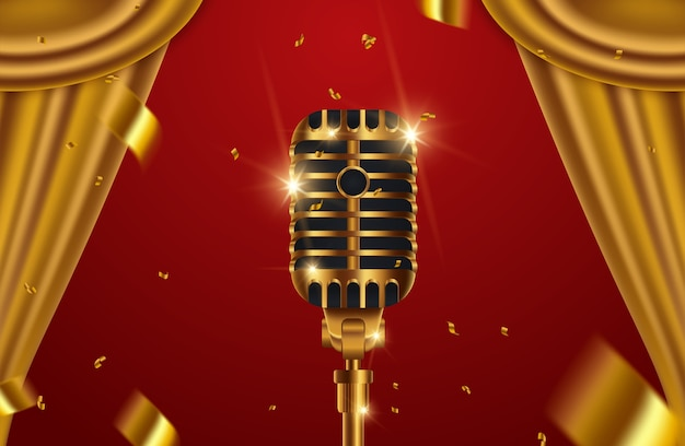 Gouden microfoon met gordijnen op rode fase achtergrond