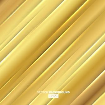 Gouden moderne vloeistof achtergrond samenstelling met gouden verlopen en goud metalen golvende lijn met schaduw