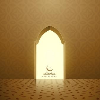 Gouden moskee interieur met deur