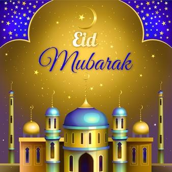 Gouden moskee realistische eid mubarak