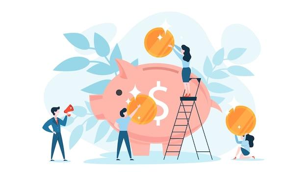 Gouden munt die in het spaarvarken valt. idee van economie
