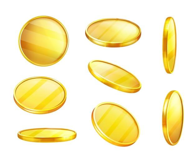 Gouden munt in verschillende posities, glanzend stuk metaal, waarde geld.