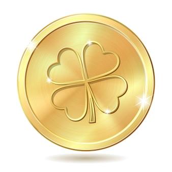 Gouden munt met klaver.