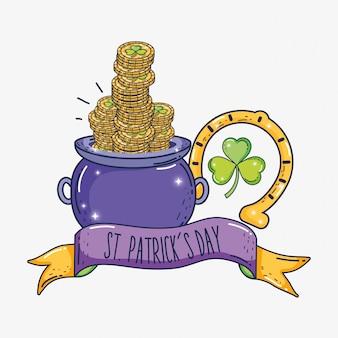 Gouden munten binnen ketel met hoefijzer en lint